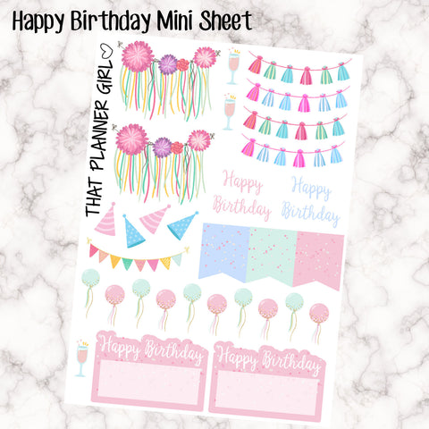 Birthday Sample Sheet - Perfect for the Erin Condren EC or Kikki K - Happy Birthday - Balloons - Mixed - Pastel Glitter / confetti