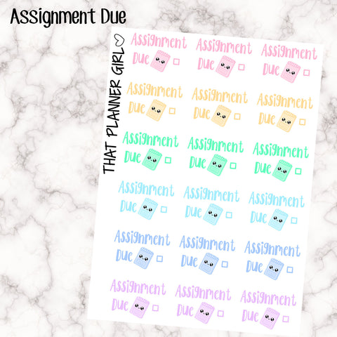 Assignment Due - Cute and perfect for study or uni - for your Erin Condren EC / kikki K / PPP planner - Super cute pastel kawaii style