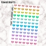 Love Heart Kawaii Icons - Cute decorative icons elements - 84 total stickers