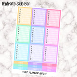 Weekly Hydrate Check Boxes perfect for the Erin Condren Vertical Planner SIDE BAR - 9 full boxes + 9 Bonus Headers