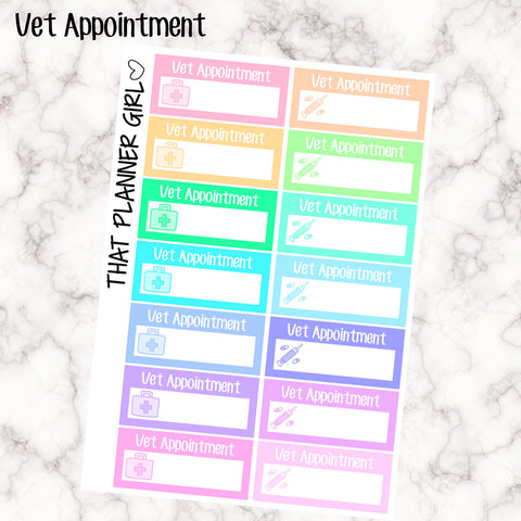 Vet Appointment Labels - Perfect for the Erin Condren Life Vertical or personal planner - Pastel Rainbow - 14 Stickers