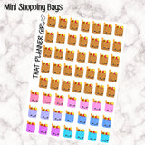 Mini Shopping / Grocery Bag Stickers - Perfect for the Erin Condren Life Vertical or personal planner - Kawaii Shopping - 56 Stickers