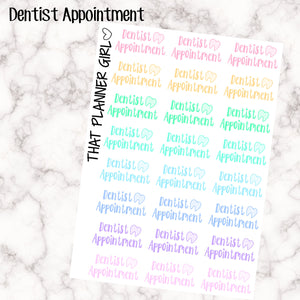 Dentist Appointment Word Labels