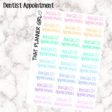Dentist Appointment Word Labels - Perfect for the Erin Condren Life Vertical or personal planner - Pastel Rainbow - 24 Stickers
