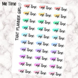 Me Time word stickers - Perfect for the Erin Condren Life Vertical, Horizonta, Kikki K or kate spade - Pastel Rainbow - 30 Stickers