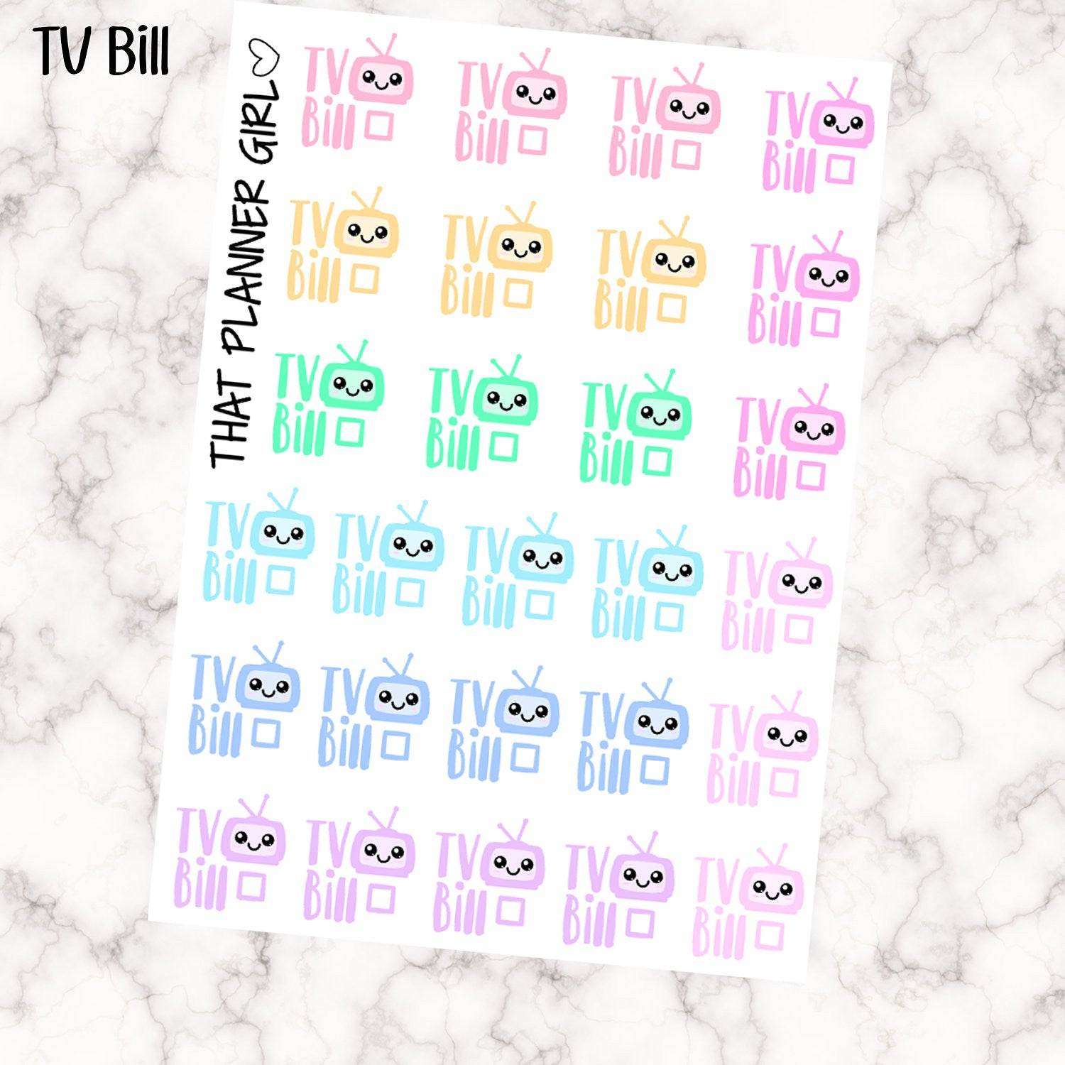 TV Bill Due Kawaii Stickers
