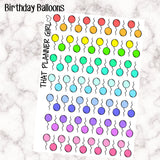 Birthday Balloon Stickers- Perfect for the Erin Condren EC or Plum Paper Planner PPP - Happy Birthday - Balloons - Mixed - Rainbow
