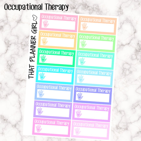 Occupational Therapy OT Appointment Labels - Perfect for the Erin Condren Life Vertical or personal planner - Pastel Rainbow - 14 Stickers