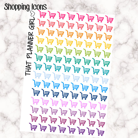 112 Shopping Cart / basket Small Ombre Stickers - Perfect in Erin Condren EC / Plum Paper Planner PPP - pretty / functional - pastel rainbow