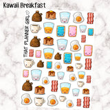 Breakfast Kawaii breakfast stickers! super cute yummy treats!! perfect for the Erin Condren, Happy Planner, kikki k etc - mark break