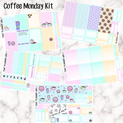 Coffee Monday - Hand Drawn Exclusive Artwork - VERTICAL weekly kit - Erin Condren Planner Stickers - inc. full boxes, 1/2 boxes, checklists