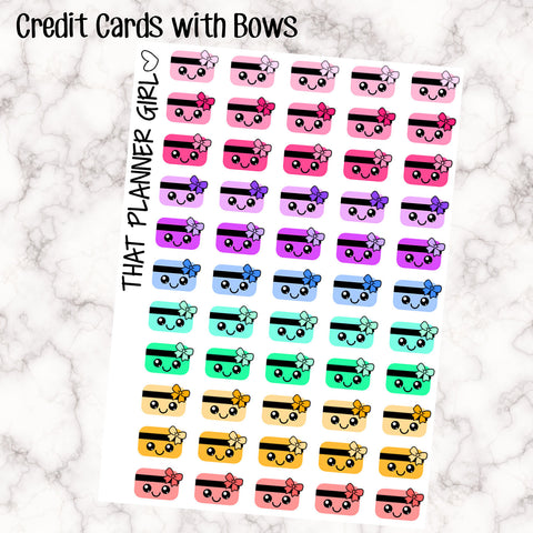 Kawaii Rainbow Credit card / bill due / loan payment Icons - Multi Colour - Erin Condren Vertical or Horizontal Planner Stickers