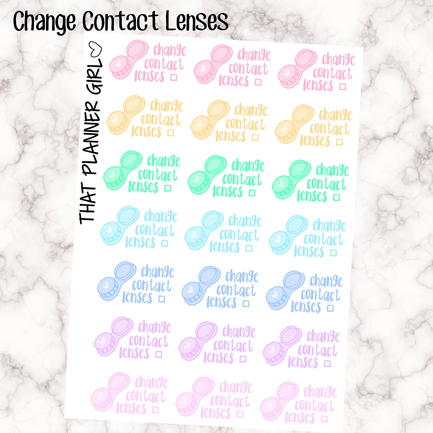 Kawaii Change Contact Lense - Perfect for the Erin Condren Life Vertical or personal planner - Pastel Rainbow - 21 Stickers
