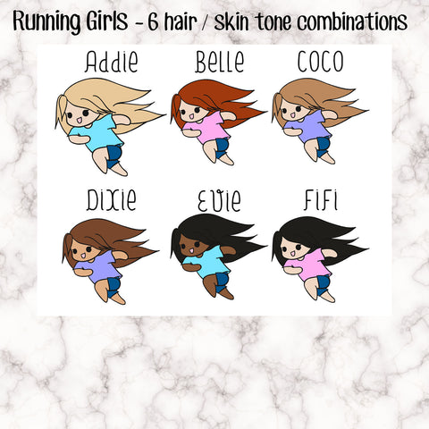 Running Girls - Run tracker - in a rush - 6 Skin / Hair Combinations -Perfect for marking running or in a hurry- Hand Drawn Original Artwork