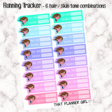 Running Tracker - Distance / time - 6 Skin / Hair Combinations -Perfect for marking running /walking / hiking - Hand Drawn Original Artwork