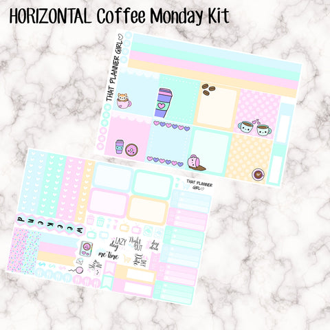 Coffee Monday - HORIZONTAL full weekly kit - Erin Condren Planner Stickers - full boxes, 1/2 boxes, washi, icons, weekend banner + more