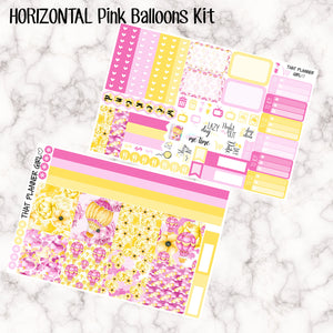 Pink Balloons, Yellow Flowers Kit - HORIZONTA  weekly kit