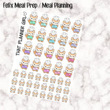 Felix Meal Prep / Meal Planning Stickers - Perfect for marking cooking days, cooking planning or food prep etc - Hand Drawn Original Artwork
