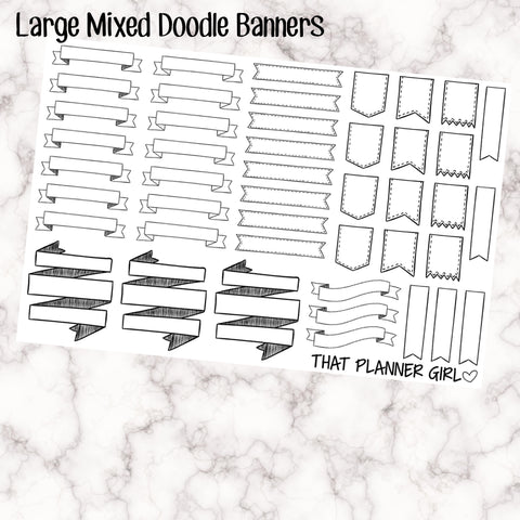 Large Doodle Banners + Flags - EC / Happy Planner Size - All are 3.8cm wide or slightly smaller - perfect for bullet journaling! 45 total!