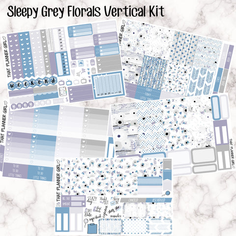 Sleepy Grey Florals - VERTICAL weekly kit - Erin Condren Planner Stickers - inc. full boxes, 1/2 boxes, checklists etc! Optional Date Covers