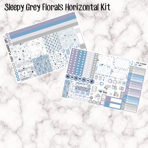 Sleepy Grey Florals - HORIZONTAL kit - Erin Condren Planner Stickers - full boxes, 1/2 boxes, washi, icons, weekend banner + more