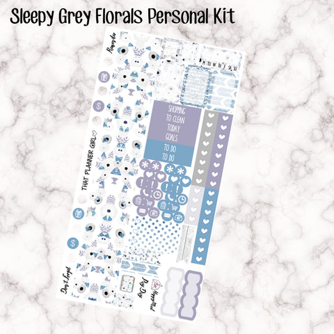 Sleepy Grey Florals - PERSONAL SIZE sticker kit