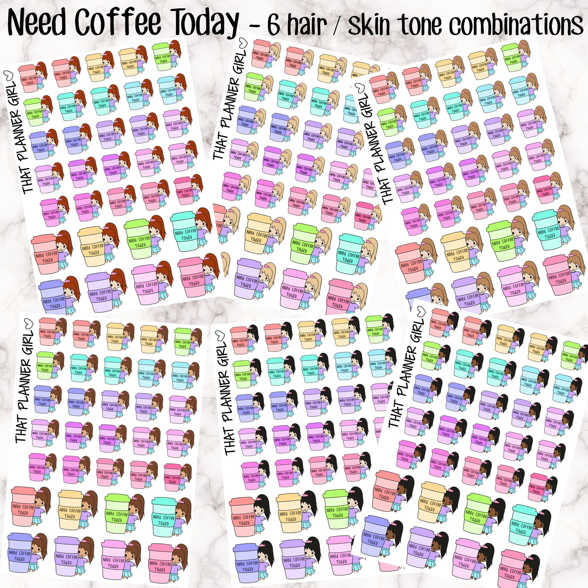 Need Coffee Today Kawaii Girl Stickers