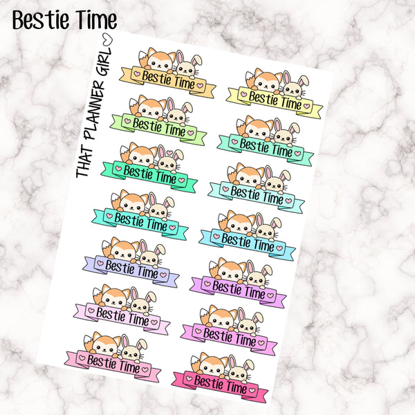 Felix and Flop BESTIE TIME Banner Stickers