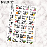 Market Day Stickers - Perfect for marking farmers markets, market shopping or market days! Super cute lettering! 28 stickers - Premium Matte