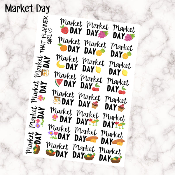 Market Day Stickers Perfect For Marking Farmers Markets Market Shopping Or Market Days Super Cute Lettering 28 Stickers Premium Matte