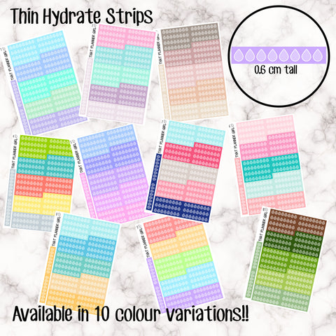 Thin Hydrate Tracker Strips - 10 Colour Variations Available!! - 36 stickers per sheet! - 7 of each colour - thin - Premium Matte