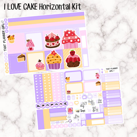 I LOVE CAKE - HORIZONTAL kit - Erin Condren Planner Stickers - full boxes, 1/2 boxes, washi, icons, weekend banner + more