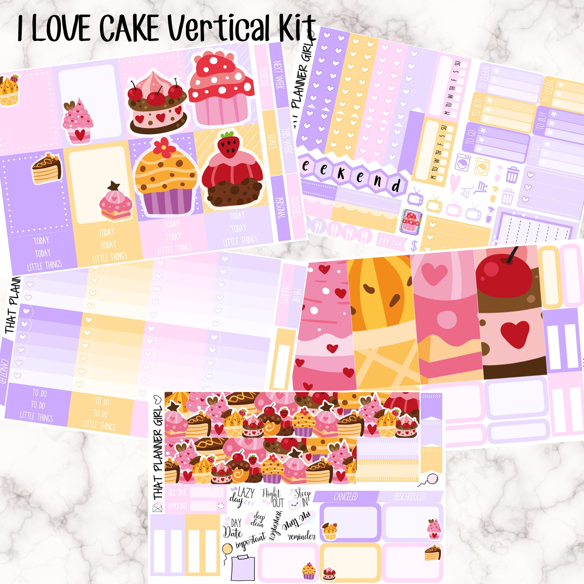 I LOVE CAKE - VERTICAL weekly kit - Erin Condren Planner Stickers - inc. full boxes, 1/2 boxes, checklists etc! Optional Date Covers