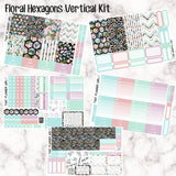 Floral Hexagons - VERTICAL weekly kit - Erin Condren Planner Stickers - inc. full boxes, 1/2 boxes, checklists etc! Optional Date Covers
