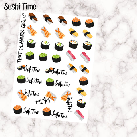 SUSHI TIME! - cute decorative sushi stickers!!! 34 Stickers! Perfect for use in an Erin Condren, Kate Spade or Foxy Fix Notebook