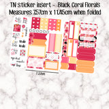 Black Coral Florals - TN Sticker Inserts - Mini Stickers for use in Traveler's Notebook - Fits in passport/no.1 or larger - Functional