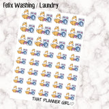 Felix Laundry / Washing - Perfect for marking Laundry Day / Clothes Washing in your Erin Condren! - Hand Drawn Original Artwork