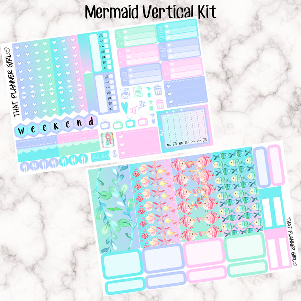Watercolour Mermaid Kit - VERTICAL weekly kit - Erin Condren Planner Stickers - inc. full boxes, 1/2 boxes, checklists! Optional Date Covers