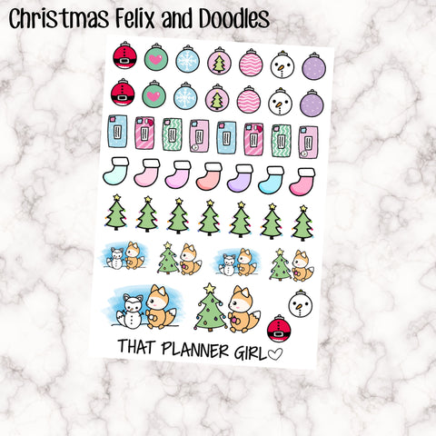 Christmas Felix and Christmas Doodles! Hand Drawn Original Artwork - Building a snowman, baubles, letters, trees and stockings