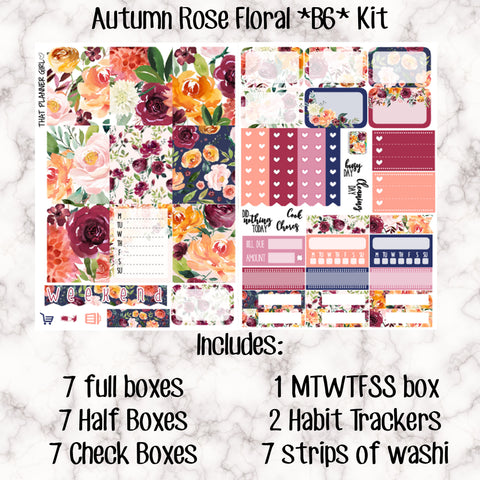 Autumn Rose/Fall Floral B6 Kit- Weekly Kit for the Number 5 Foxy Fix or B6 Planner -Folds to fit in your TN! EC sized boxes!