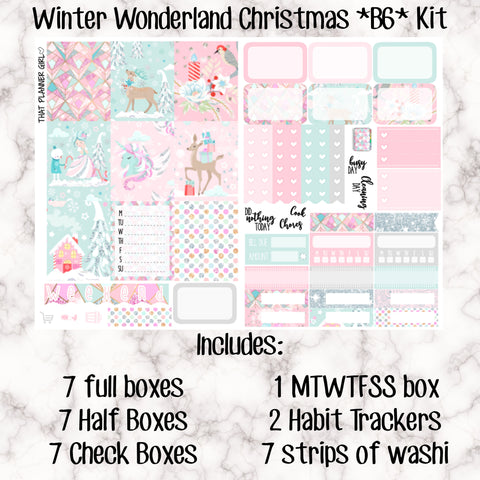 Winter Wonderland Christmas B6 Kit- Weekly Kit for the Number 5 Foxy Fix or B6 Planner -Folds to fit in your TN! EC sized boxes!