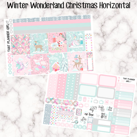 Winter Wonderland Christmas Kit - HORIZONTAL - Erin Condren Planner Stickers - full boxes, 1/2 boxes, washi, icons, weekend banner + more