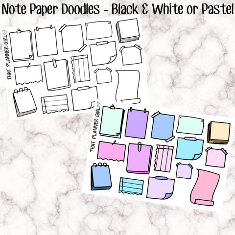 Large Note Paper Doodles - EC/Happy Planner Size - All are 3.8cm wide or smaller - perfect for bullet journaling or in your TN!!
