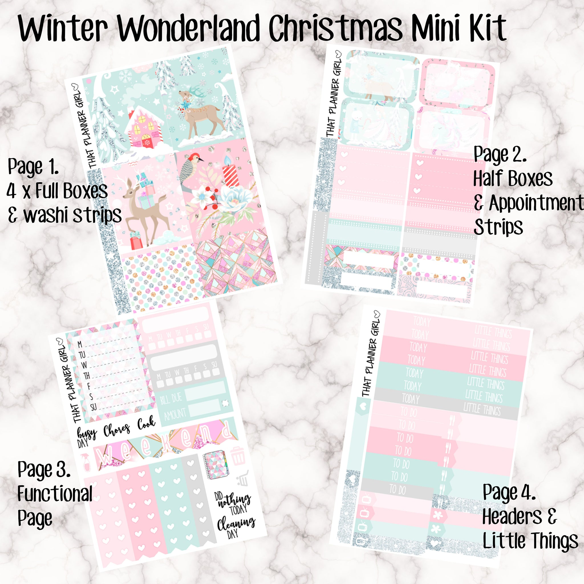 Winter Wonderland Christmas Mini Kit - Sheets available individually or as a full kit!!