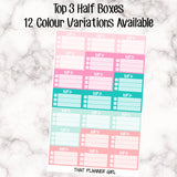 Top 3 - Half box check lists - 12 Colour Variations Available!! - 27 stickers per sheet! - Priority check boxes - Premium Matte
