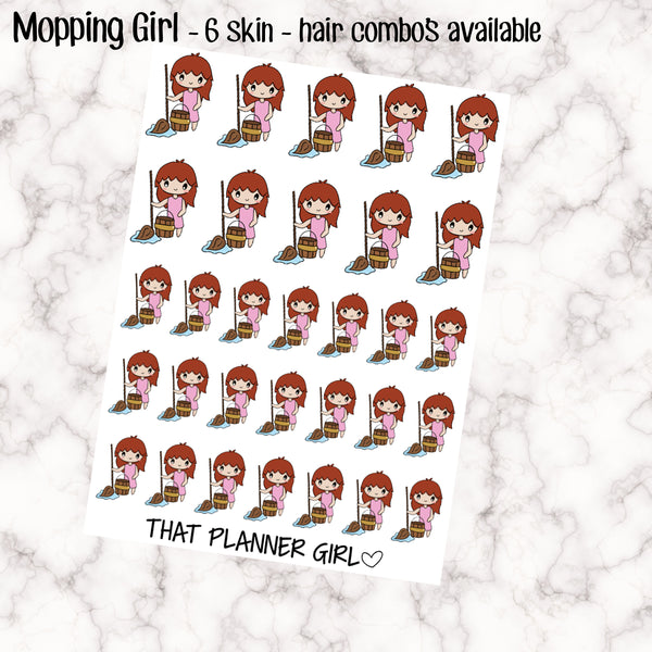 Mopping Girl - Cleaning Girl Stickers