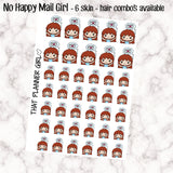 No Happy Mail/Waiting on mail Girls -6 Skin/Hair Combinations -Perfect for marking waiting for mail- Hand Drawn Artwork -Light/deep skin