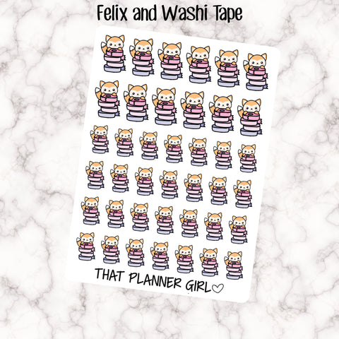 Felix and Washi Tape - Perfect for marking planning, decorating, etsy shopping  etc  - Hand Drawn Original Character