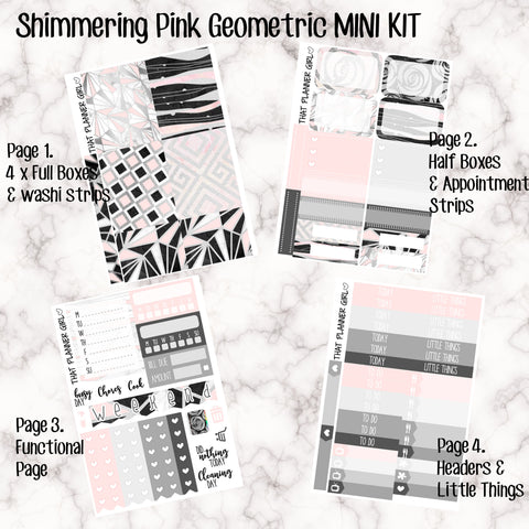 Shimmering Pink Geometric Mini Kit - Sheets available individually or as a full kit!! - Small Kit for White Space Planning!