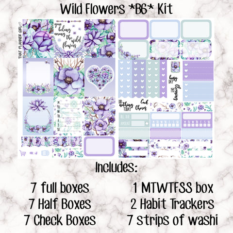Wild Flowers B6 Kit- Weekly Kit for the Number 5 Foxy Fix or B6 Planner -Folds to fit in your TN! EC sized boxes!